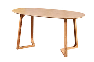 Oval wood dining table