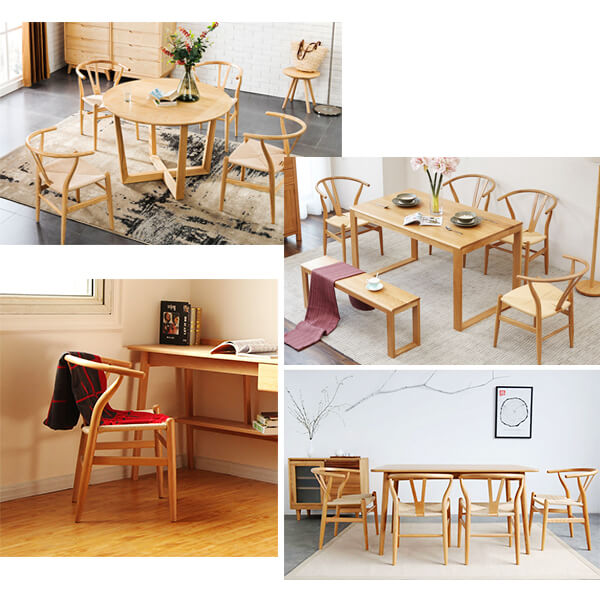 Wishbone dining chairs application