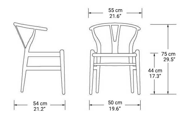 Wishbone chairs size