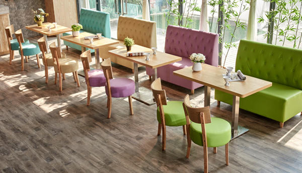 Macaroon color in restaurant dining chairs