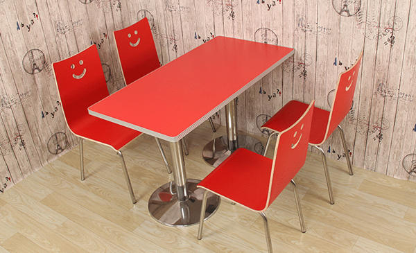 Red bentwood dining chair and table