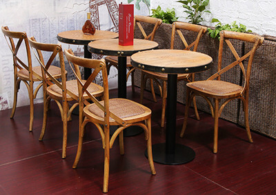 Cross back restaurant dining chair and table