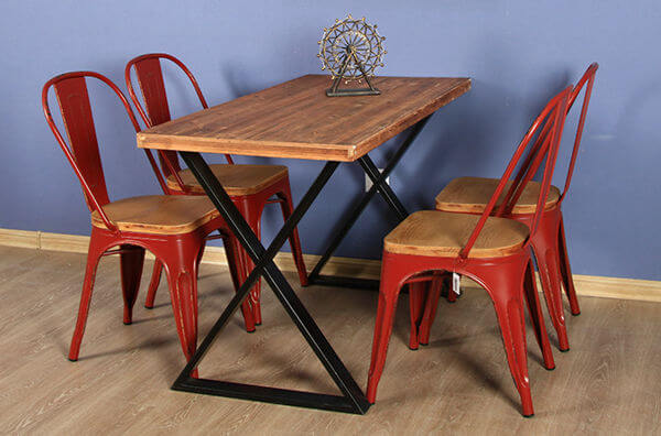 steel restaurant dining table and chair