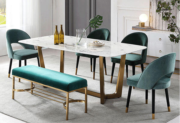 green velvet dining chairs set