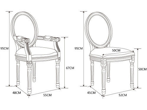 oval upholstered dining chair Louis XVI dimension