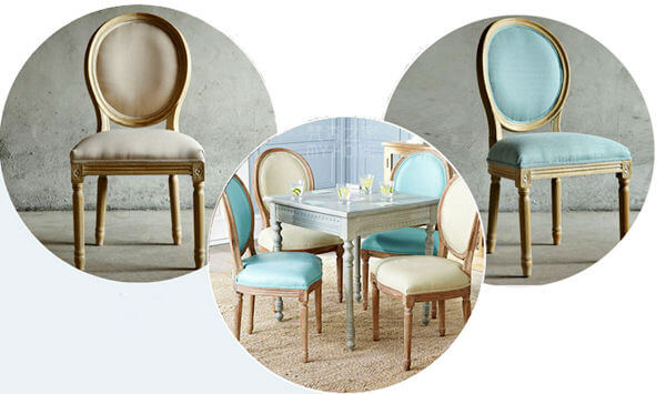 French upholstered dining chair beige and blue