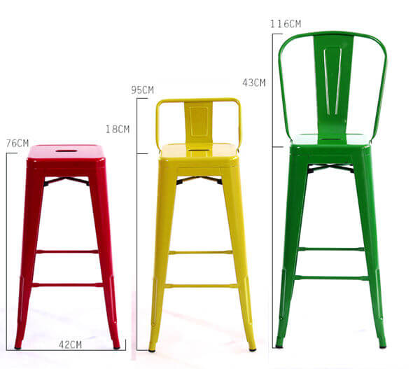 Tolix bar stools with back dimension