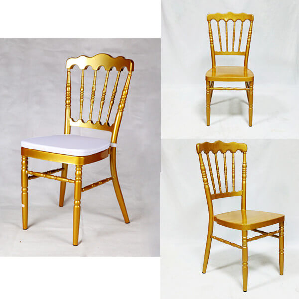 Gold Napoleon Chair With White Cushion