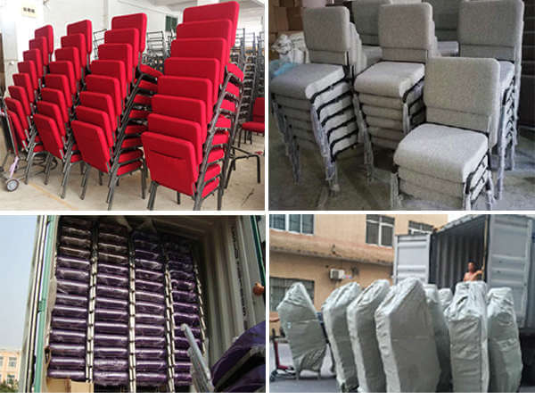 N-110 stackable church chairs packing and loading