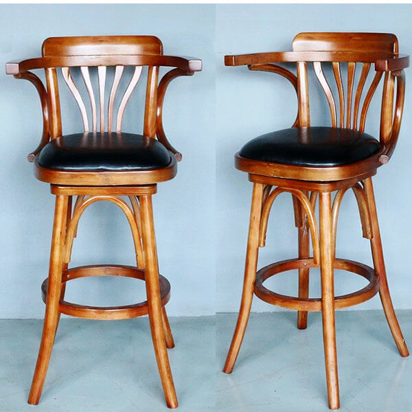 Wood counter height restaurant bar stool