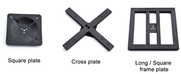 Table supporting plates for different size and shape table tops