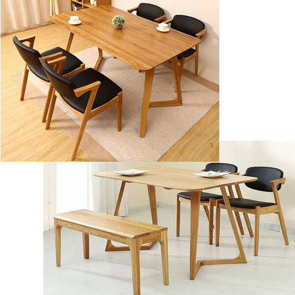 Wooden cafe dining chairs and bench set