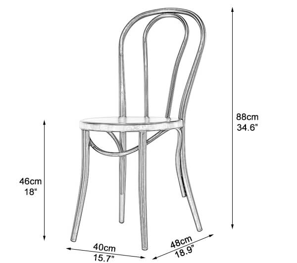 Metal Cafe Chair Dimensions