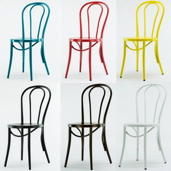 Metal cafe chairs in different color options
