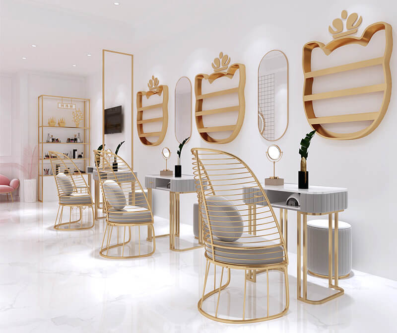 Nail bar chairs and tables decoration