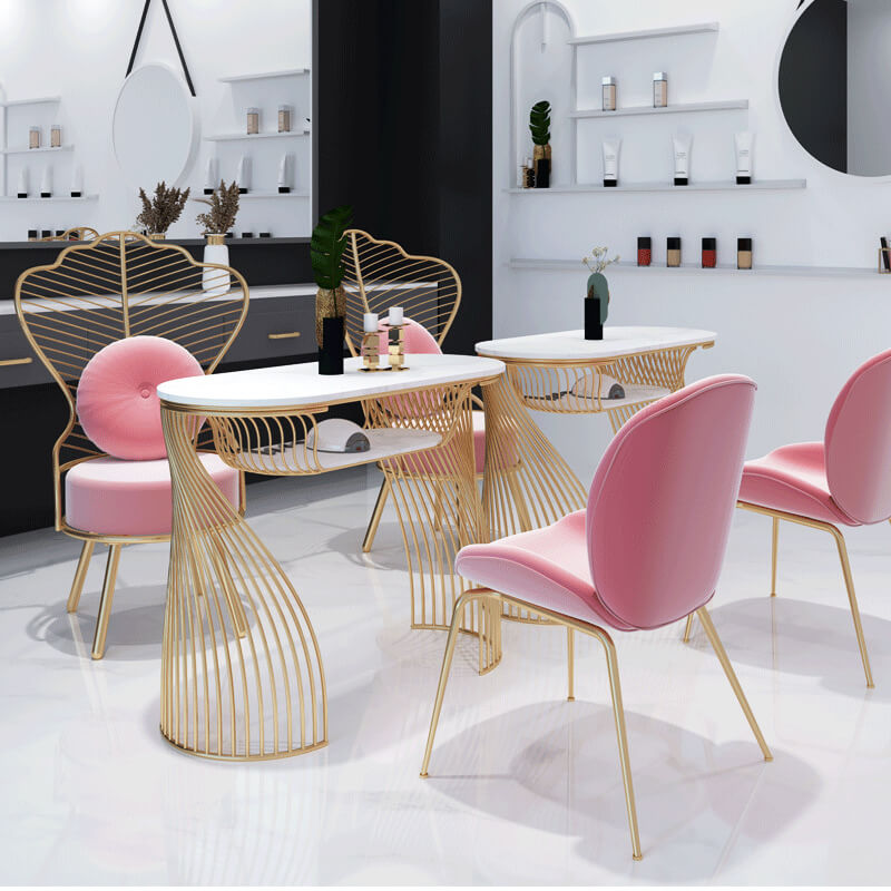 Nail salon tables and chairs