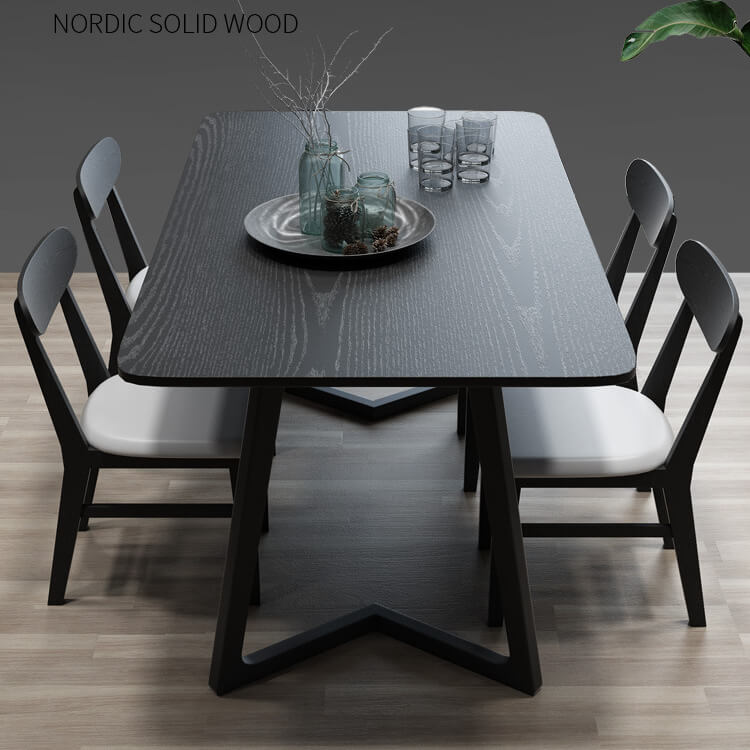 Solid wood black kitchen chairs set