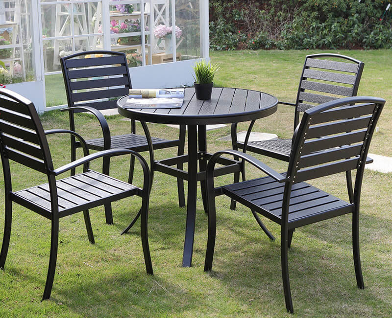 outdoor black dining chairs and table set