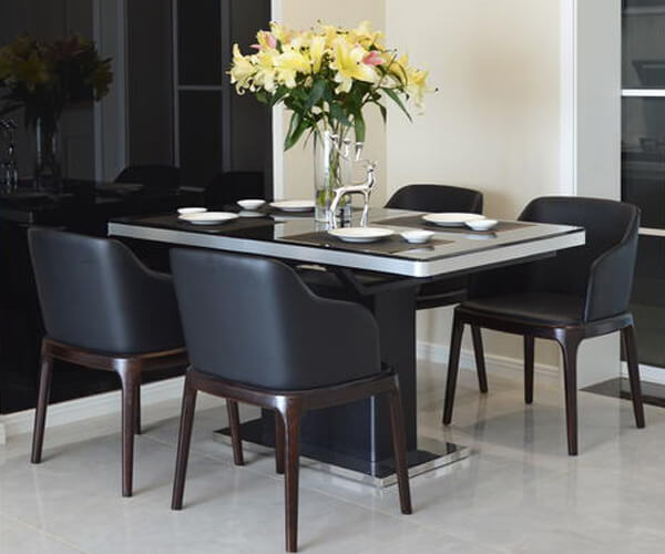 faux leather black dining chairs with arms