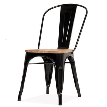 N-A1004 Tolix Chair Wooden Seat Restaurant Dining Chair