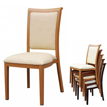 N-102 Aluminum Wood Look Stackable Restaurant Chairs