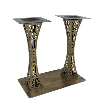 B02 Retro Brass Color Iron Tower Restaurant Table Base